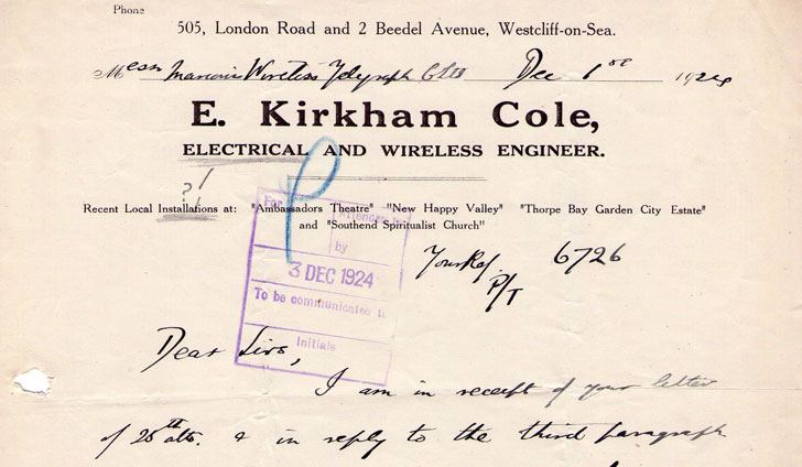 Orginal 1924 letter from E. K. Cole